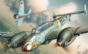 Picture figure, art, Messerschmitt, Fighter-bomber, Luftwaffe, Destroyer, twin-engine heavy fighter, Bf 110E