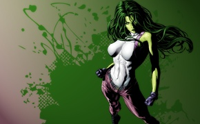 Picture green, girl, art, Comics, She Hulk