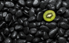 Picture drops, stones, kiwi