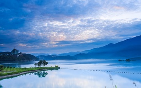 Picture the sky, clouds, trees, mountains, nature, lake, reflection, dawn, blue, shore, morning, China, Taiwan, China, …