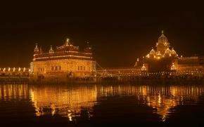Wallpaper Golden temple, India, Punjab, lights, night, the festival of light, Amritsar