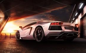 Picture Lamborghini, Sky, Sunset, Beauty, LP700-4, Aventador, Supercar, Reflection, Rear