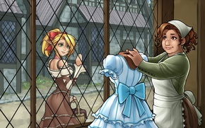Wallpaper dress, girl, window, blonde, woman, elf, anime