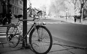 Picture bike, the city, street, black and white
