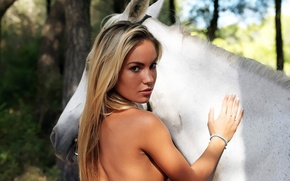 Picture girl, horse, horse, blonde, Veronika Fasterova