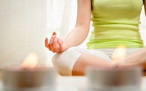 Picture pose, candles, yoga