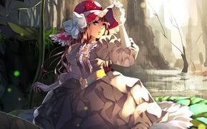 Picture stream, rocks, hat, dress, girl, gloves, gorge, bow, art, Aiki-ame