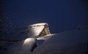 Picture winter, snow, night, house, Japan, the island of Honshu, Gokayama, Shirakawa-go