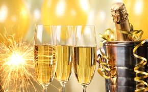 Picture balls, bottle, New Year, glasses, golden, champagne, serpentine, New Year, sparklers, bucket, celebration, holiday, Happy, ...