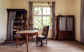 Picture table, room, books, Windows, chair, curtain, sunlight