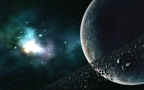 Picture stars, planet, asteroids, belt