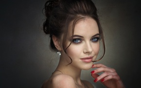 Picture eyes, look, girl, beauty, makeup, curls, manicure