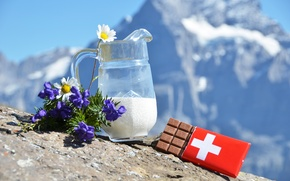 Picture flowers, chocolate, chamomile, milk, Alps, Swiss