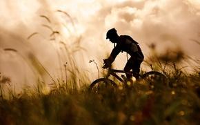 Picture grass, bike, sport, silhouette, athlete