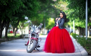 Picture girl, pose, motorcycle, Valeria