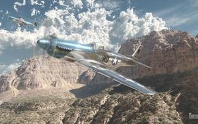 Picture the sky, clouds, mustang, fighter, Art, American, P-51D, War Thunder, hibikirus, BBC America, p51