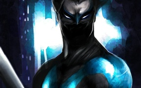 Picture look, weapons, mask, art, costume, Nightwing