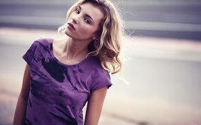 Picture girl, woman, model, purple, blonde, female, gaze, stare, Rachel Yampolsky