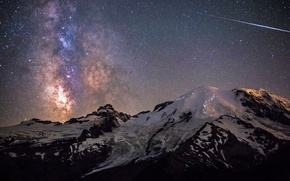 Picture the sky, stars, night, USA, The Milky Way, Washington, Mount Rainier National Park