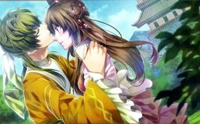 Picture foliage, kiss, hairstyle, temple, blush, art, canoe, chouun, teita language, jyuzaengi engetsu sangokugen