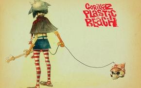 Picture skull, art, gorillaz, noodle, Plastic Beach