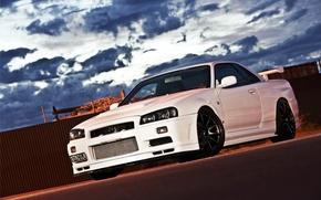 Picture car, white, Nissan, nissan skyline, rechange