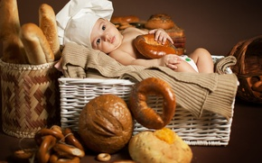 Picture children, baby, bread, bagels, bread, child, cap, bagels, basket, loaves, Anna Levankova, scullion