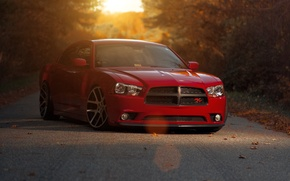 Picture sunset, red, red, Dodge, dodge, charger, the charger, R/T