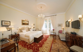 Picture design, style, table, room, interior, TV, pictures, curtains, mansion, luxury, bedroom, bedroom