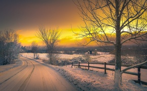 Picture winter, road, snow, sunset, the evening, village