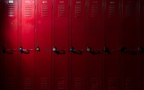 Picture metal, red, locks, lockers