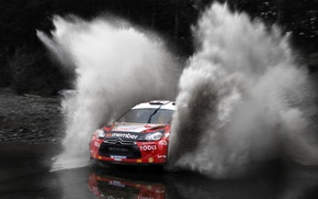 Picture Squirt, Black and white, Water, DS3, Citroen, Red, The front, Rally, Race, Rally, Machine, Auto, ...