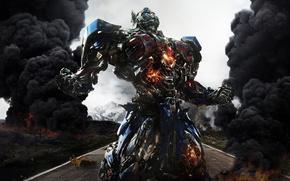 Picture car, cinema, fire, flame, gun, robot, weapon, street, movie, Transformers, Optimus Prime, Michael Bay, film, …