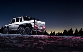 Picture Mercedes-Benz, Beautiful, Darkness, AMG, Sun, Night, Snow, Shadow, Background, G63, 6x6, Awesome