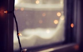 Picture winter, glass, macro, lights, blur, window, garland, bokeh