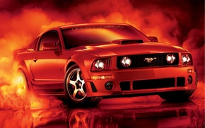 Picture red, reflection, tuning, smoke, mustang, Mustang, ford, drives, Ford, tuning, the front, Muscle car, Muscle …