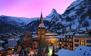 Wallpaper the sky, trees, sunset, mountains, lights, rocks, home, the evening, Switzerland, Alps, glow, town, Zermatt, ...