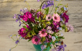 Picture forget-me-nots, honesty, bouquet, bells, geranium, osteospermum, cornflowers
