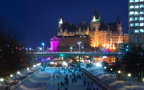 Picture winter, night, bridge, lights, Canada, Ottawa, Winterlude, the Rideau canal