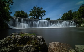 Picture the sky, water, trees, stones, waterfall, Root River Falls