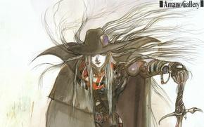Picture graphics, sword, hat, cloak, color, hunter, art, Yoshi Want Amano, Vampire Hunter D