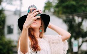 Picture girl, pattern, hat, phone, photographs, case, selfie, selfie