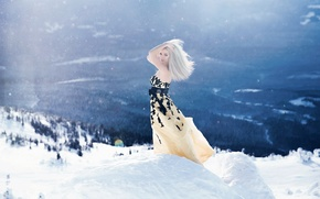 Picture winter, girl, light, snow, mountains, pose, mood, the situation, dress, the air, blonde, Wallpaper from …