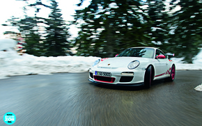 Wallpaper the front, trees, 911, Porsche, turn, white, turn, GT3 RS, 9th, GT3, snag, top gear, ...