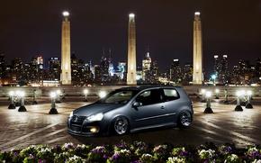 Picture night, the city, Golf, golf, Volkswagen, Volksvagen, mk5