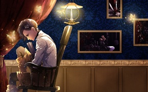 Picture sadness, wall, lamp, chair, pictures, shirt, curtain, moths, wand of fortune, visual novel, is rinaudo, …