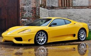 Picture yellow, the building, Ferrari, 360, Ferrari 360, Challenge Stradale