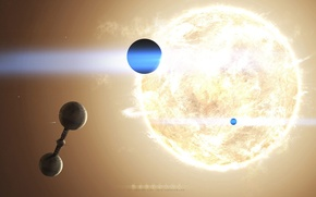 Picture the sun, star, planet, space station