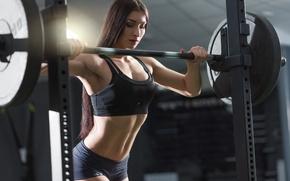 Wallpaper workout, female, brunette, fitness