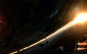 Wallpaper ship, planet, galaxy, hole, asteroids, train, black, stars, fire